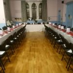 St Michael's Church Lower Hall set up for Burns Night