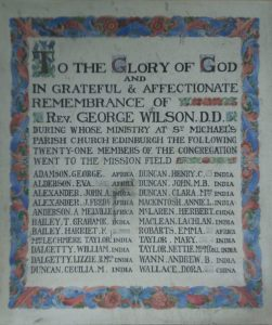 The framed Roll of Honour lists all missionaries sent out from St. Michael's Parish Church.